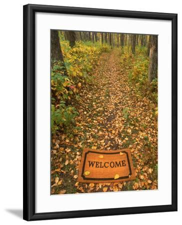Welcome Mat on Forest Trail-Kevin Law-Framed Photographic Print