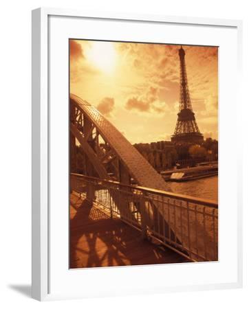 France, Paris, Eiffel and Passerelle-Silvestre Machado-Framed Photographic Print