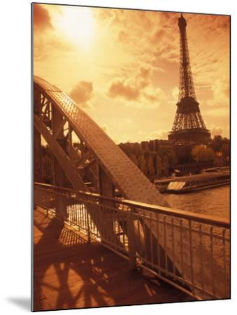 France, Paris, Eiffel and Passerelle-Silvestre Machado-Mounted Photographic Print