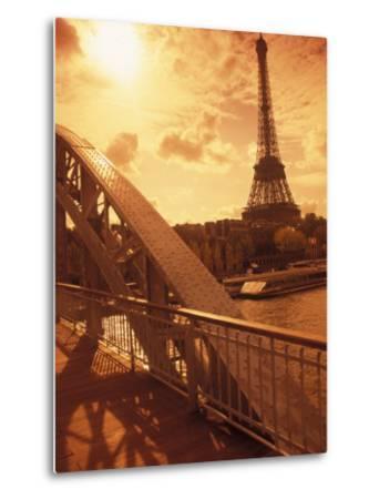 France, Paris, Eiffel and Passerelle-Silvestre Machado-Metal Print