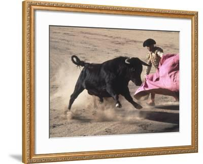 Matador with Pink Cape and Bull, Mexico-Edward Slater-Framed Photographic Print