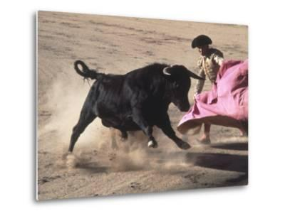 Matador with Pink Cape and Bull, Mexico-Edward Slater-Metal Print