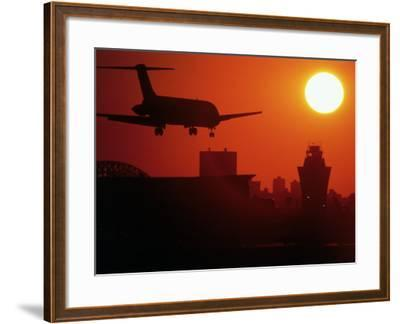 Airplane Descending at Dawn-Charles Blecker-Framed Photographic Print
