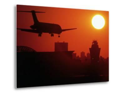 Airplane Descending at Dawn-Charles Blecker-Metal Print