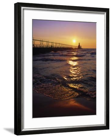 Sunset at Lighthouse, Lake MIchigan, MI-Mark Gibson-Framed Photographic Print