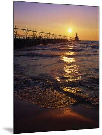 Sunset at Lighthouse, Lake MIchigan, MI-Mark Gibson-Mounted Photographic Print