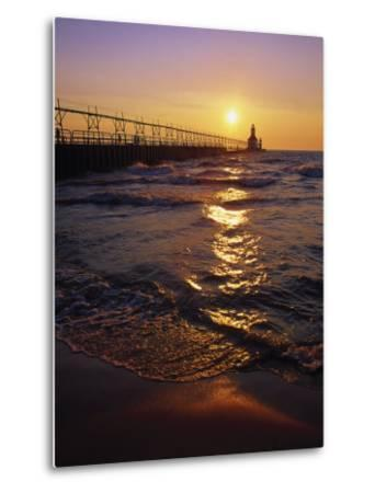 Sunset at Lighthouse, Lake MIchigan, MI-Mark Gibson-Metal Print