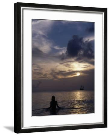 Woman Looking at Tall Ship, Cayman Islands-Bruce Clarke-Framed Photographic Print