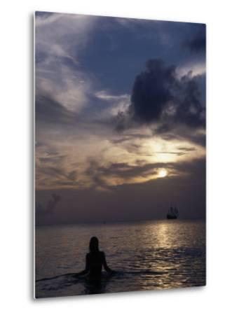 Woman Looking at Tall Ship, Cayman Islands-Bruce Clarke-Metal Print