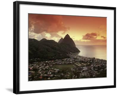 Sunset View of the Pitons and Soufriere, St. Lucia-Walter Bibikow-Framed Photographic Print