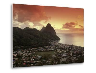 Sunset View of the Pitons and Soufriere, St. Lucia-Walter Bibikow-Metal Print