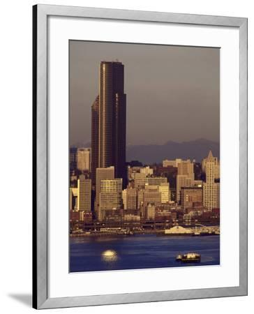 Sunset, Seattle Skyline, Tugboats in Elliott Bay-Jim Corwin-Framed Photographic Print
