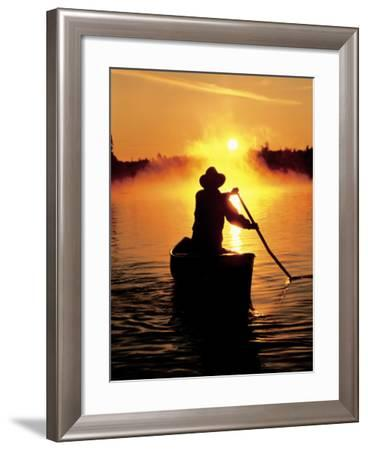 Sunrise Canoeing, Boundary Waters Canoe Area, MN-Amy And Chuck Wiley/wales-Framed Photographic Print