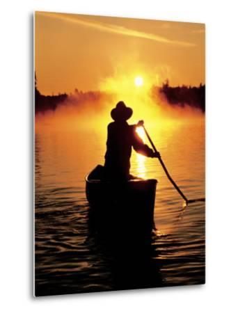 Sunrise Canoeing, Boundary Waters Canoe Area, MN-Amy And Chuck Wiley/wales-Metal Print