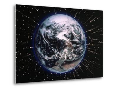 Earth Bombarded by Stars-Chris Rogers-Metal Print