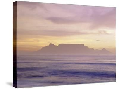 Table Mountain at Dusk, Cape Town, South Africa-Walter Bibikow-Stretched Canvas Print
