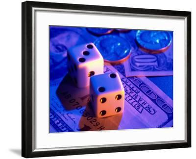 Dice and Money on Blue Background-Jim McGuire-Framed Photographic Print