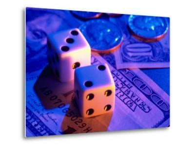 Dice and Money on Blue Background-Jim McGuire-Metal Print