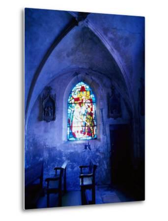 Jean D'Arc Stained Glass in Church, France-Bruce Clarke-Metal Print