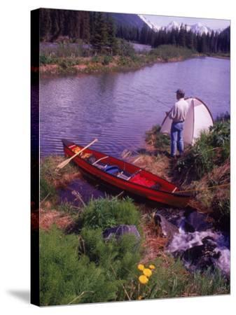 Man Camping and Fishing-Mike Robinson-Stretched Canvas Print