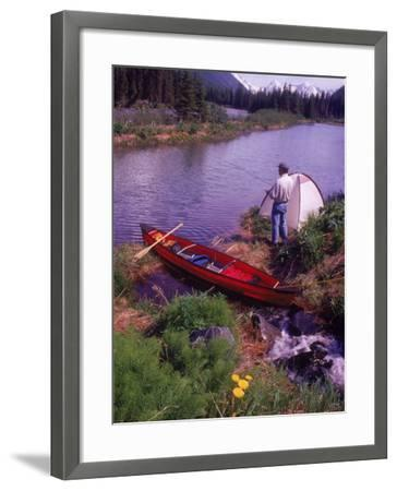 Man Camping and Fishing-Mike Robinson-Framed Photographic Print