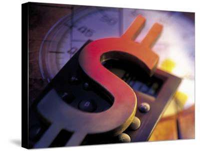 Calculator, Clock, and Dollar Sign-Ellen Kamp-Stretched Canvas Print