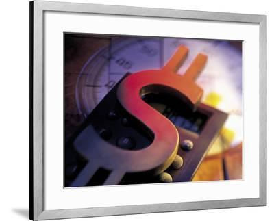 Calculator, Clock, and Dollar Sign-Ellen Kamp-Framed Photographic Print
