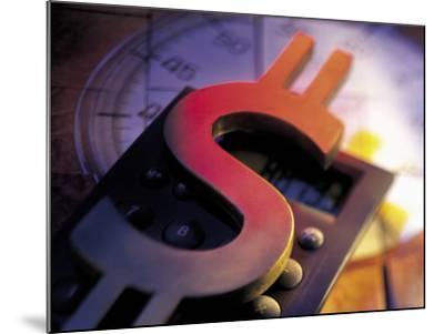Calculator, Clock, and Dollar Sign-Ellen Kamp-Mounted Photographic Print