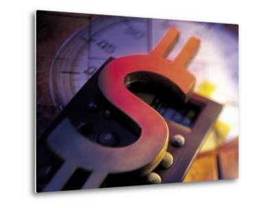 Calculator, Clock, and Dollar Sign-Ellen Kamp-Metal Print