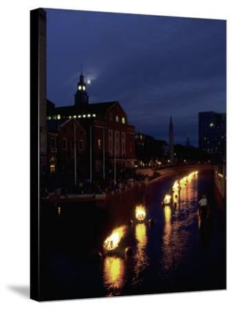 Waterplace Park at Night, Providence, RI-James Lemass-Stretched Canvas Print
