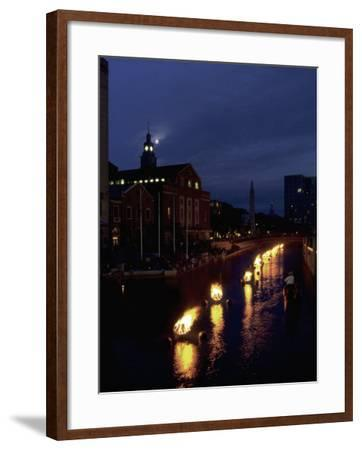 Waterplace Park at Night, Providence, RI-James Lemass-Framed Photographic Print