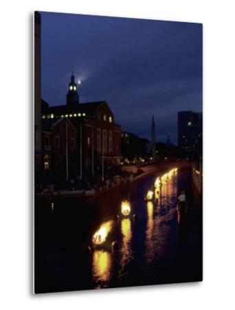 Waterplace Park at Night, Providence, RI-James Lemass-Metal Print
