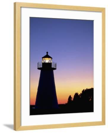 Lighthouse at Sunset, Mattapoisett, MA-James Lemass-Framed Photographic Print