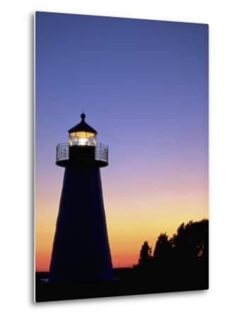 Lighthouse at Sunset, Mattapoisett, MA-James Lemass-Metal Print