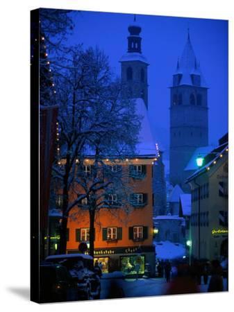 Night Time in Kitzbuhel, Austria-Walter Bibikow-Stretched Canvas Print
