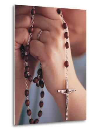 Woman Praying with Rosary Beads-Jim Corwin-Metal Print