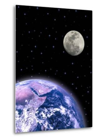 Earth and the Moon-David Davis-Metal Print