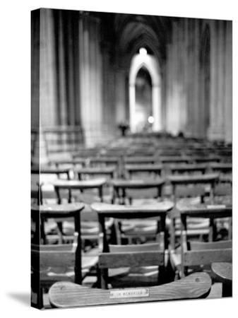 Church Pews, Interior National Cathedral-Walter Bibikow-Stretched Canvas Print