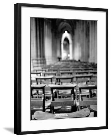 Church Pews, Interior National Cathedral-Walter Bibikow-Framed Photographic Print