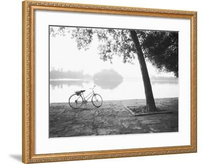 Bicycle and Bay Mau Lake Lenin Park-Walter Bibikow-Framed Photographic Print