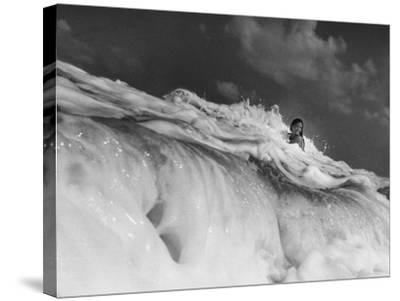 S. Florida, Woman Playing in Surf-Pat Canova-Stretched Canvas Print