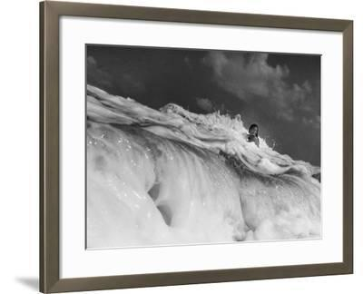 S. Florida, Woman Playing in Surf-Pat Canova-Framed Photographic Print