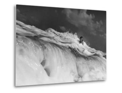S. Florida, Woman Playing in Surf-Pat Canova-Metal Print