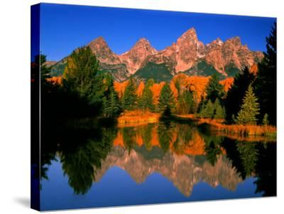 Teton Range in Autumn, Grand Teton National Park, WY-Russell Burden-Stretched Canvas Print