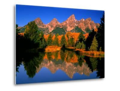 Teton Range in Autumn, Grand Teton National Park, WY-Russell Burden-Metal Print