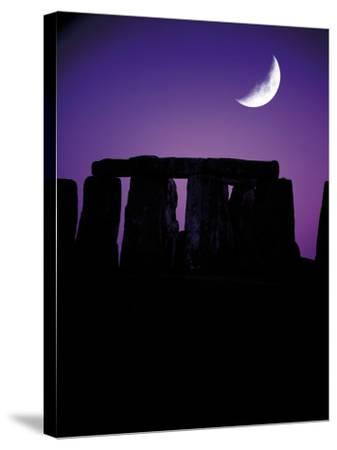 Crescent Moon Over Stonehenge, England-Terry Why-Stretched Canvas Print