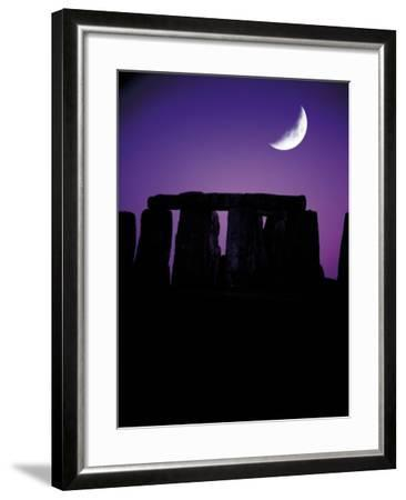 Crescent Moon Over Stonehenge, England-Terry Why-Framed Photographic Print