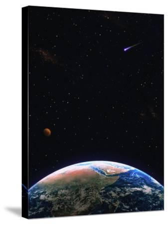 Illustration of Earth, Comet and Planet-Ron Russell-Stretched Canvas Print