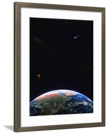 Illustration of Earth, Comet and Planet-Ron Russell-Framed Photographic Print