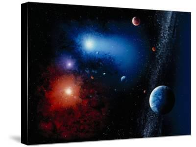 Space Illustration Titled Novae Stella-Ron Russell-Stretched Canvas Print